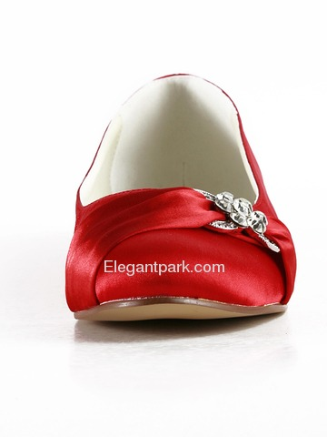 Elegantpark Red Almond Toe Flat Satin Bowknot Wedding Evening & Party Shoes (EP2006)