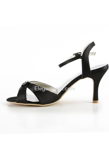 Elegantpark Black Open Toe Stiletto Heel Satin Rhinestones Wedding Evening Party Shoes (EP2014)