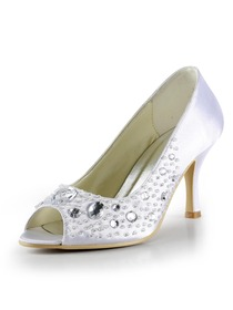 Elegantpark White Peep Toe Rhinestone Stiletto Heel Satin Wedding Bridal & Evening Shoes