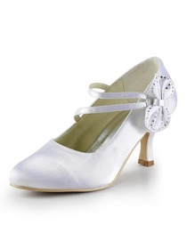 Elegantpark White Round Toe Rhinestone Bow Spool Heel Wedding Bridal & Evening Shoes