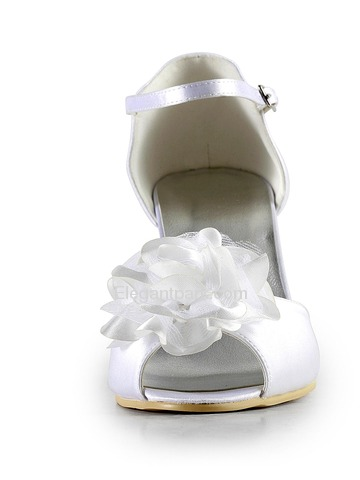 Elegantpark White Peep Toe Flower Stiletto Heel Satin Wedding & Evening Bridal Sandals (EP2020)