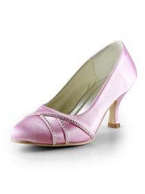 Elegantpark Pink Almond Toe Rhinestones Stiletto Heel Satin Wedding Bridal & Evening Shoes