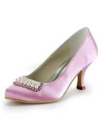 Elegantpark Pink Pearls Rhinestone Stiletto Heel Satin Wedding Bridal Evening Shoes