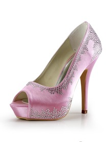 Elegantpark Pink Peep Toe Platform Satin Stiletto Heel Prom Wedding Evening Party Shoes