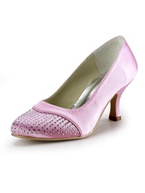 Elegantpark Pink Round Toe Rhinestone Satin Wedding & Evening Party Shoes