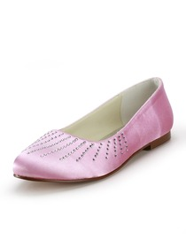 Elegantpark Pink Round Toe Rhinestone Satin Wedding Evening Bridal Flat Shoes