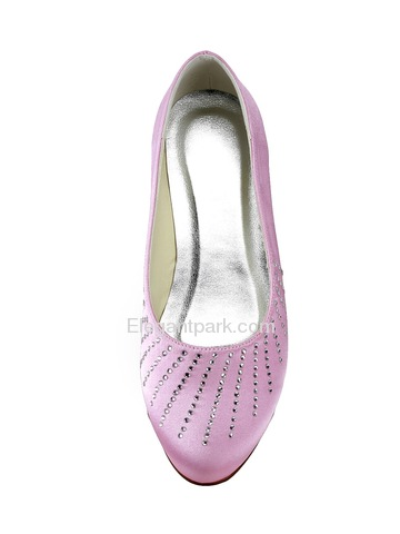 Elegantpark Pink Round Toe Rhinestone Satin Wedding Evening Bridal Flat Shoes (EP2028)