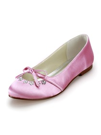 Elegantpark Pink Round Toe Bow Rhinestone Satin Wedding Bridal Evening Flat Shoes