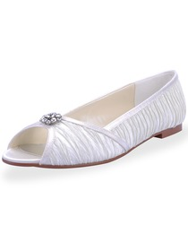 Elegantpark Satin Upper Peep Toe Flats With Rhinestone Comfortable Wedding Bridal Shoes