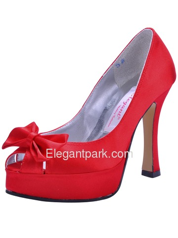 Elegant Peep Toe Bowknot Stiletto Heel Satin Prom Shoes (A3055-PF)