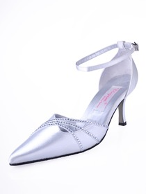 Elegantpark White Pointy Toe Stiletto Heel Satin Rhinestone Wedding Party Shoes