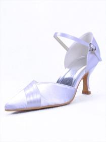 Elegantpark Pointy Toes Stiletto Heel Satin Evening Shoes