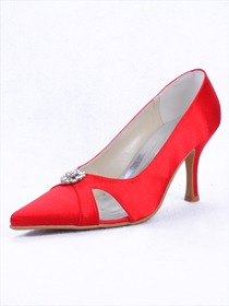 Elegantpark Slim Satin Pointy Toes Stiletto Heel Party Shoes