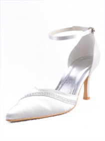 Elegantpark Pointy Toes Stiletto Heel Satin Bridal Shoes