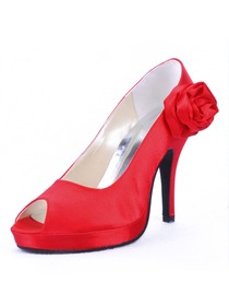 Elegantpark Red Pretty Peep Toe Satin Platforms Stiletto Heel Party Shoes