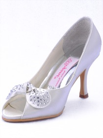 Elegantpark Ivory Peep Toe Stiletto Heel Satin Wedding Eveing Party Shoes