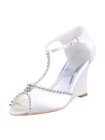 Elegantpark Stylish Satin Open Toe Wedge Heel Evening Shoes