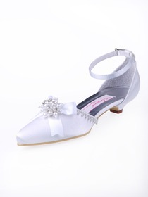 Elegantpark Satin Pointy Toes With Bowknot Wedding Bridal Shoes
