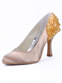 Elegantpark Pretty Satin Pointy Toes Stiletto Heel Party Shoes