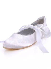 Elegantpark White Round Toe Flat Satin Wedding Bridal Prom Shoes