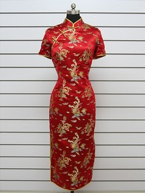 Mandarin Collar Single-line Button Knee-length Cap Sleeve Silk Brocade Cheongsam