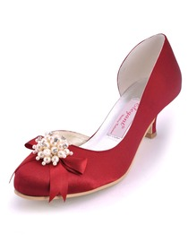 Elegantpark Burgundy Pretty Satin Pearls Round Toes Cone Heel Bridal Party Shoes