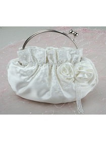 Ivory Flower Beading Satin Wedding Bridal Handbag Fashion Clutch