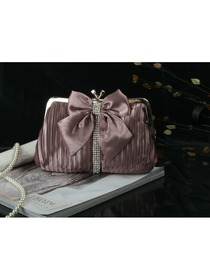 Cameo Brown Bow Rhinestone Women's Handbag Satin Clutches