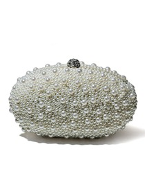 Fabulous Light Ivory Beads Rhinestones Evening Party Bag