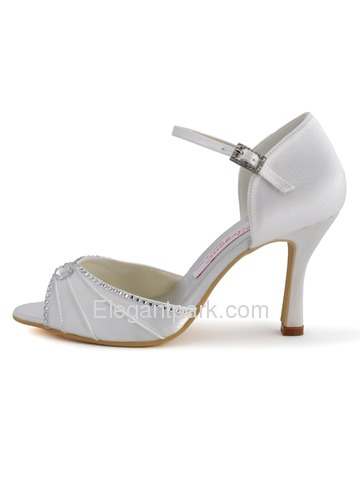 Elegantpark Ivory Open Toe Stiletto Heel Satin Shoes (EL-033)