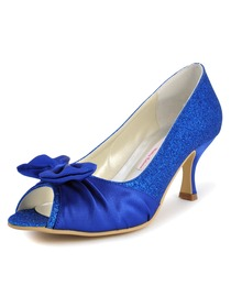 Elegantpark Blue Peep Toe Stiletto Heel Glitter Bow Evening Party Prom Shoes