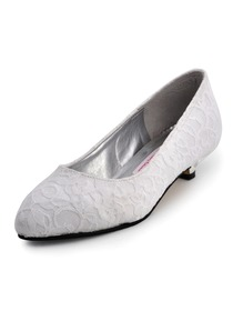 Elegant Low Heel Satin Lace Bridal Shoes