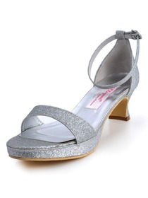 Elegantpark Silver Open Toe Chunky Heel Glitter PU Platform Evening Party Sandals