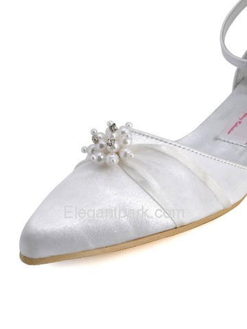 Elegantpark White Pretty Satin Pearl Buckle Flat Wedding Evening Party Shoes (A711)