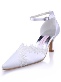 Elegantpark White Pointy Toe Stiletto Heel Satin Appliques Wedding Evening Party Shoes