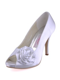Elegantpark Satin Flower Peep Toe Stiletto Heel Satin Evening & Party Prom Shoes
