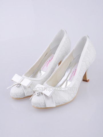 Elegantpark White Closed Toe Spool Heel Satin and Lace Wedding Shoes (EL-003)