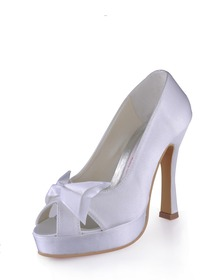 Elegant Peep Toe Bowknot Stiletto Heel Satin Prom Shoes