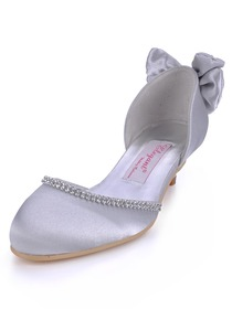 Elegantpark Silver-Gray Almond Toe Rhinestone Bow Satin Evening Party Shoes