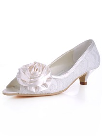 Elegantpark Ivory Peep Toe Satin Flower Spool Heel Lace Wedding Bridal Shoes