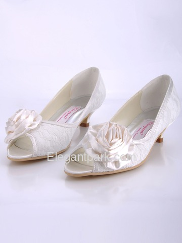 Elegantpark Ivory Peep Toe Satin Flower Spool Heel Lace Wedding Bridal Shoes (EP41019)