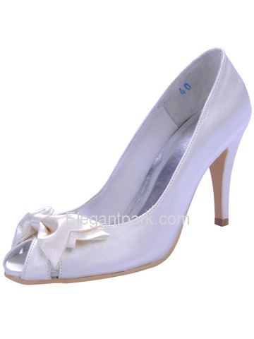 Elegantpark Blue Elegant Peep Toe Bowknot Stiletto Heel Satin Prom Shoes (A3055)