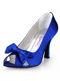 Elegantpark Blue Elegant Peep Toe Bowknot Stiletto Heel Satin Prom Shoes