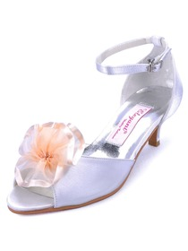 Elegantpark White Peep Toe Chunky Heel Satin Flower Wedding Evening Party Shoes