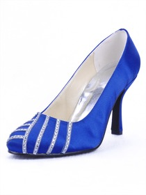 Elegantpark Blue Satin Closed Toe Stiletto Heel Party Shoes