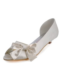 Elegantpark Ivory Peep Toe Bowknot Low Heel Satin Bridal Evening Party Shoes