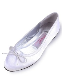 Elegantpark White Almond Toe Satin Bowknot Wedding Evening Party Shoes