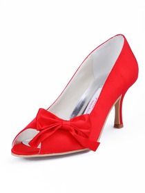 Elegantpark Red Peep Toe Stiletto Heel Satin Bowknot Bridal Evening Party Shoes