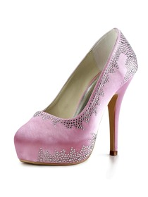 Elegantpark Pink Almond Toe Platform Satin Rhinestones Bridal Evening Party Shoes