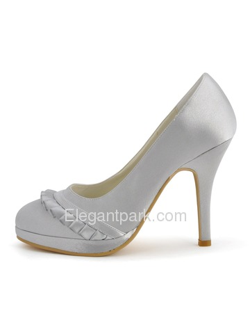 Elegantpark Silver Almond Toe Stiletto Heel Paltform Bridal Evening Party Shoes (EP41022-PF)